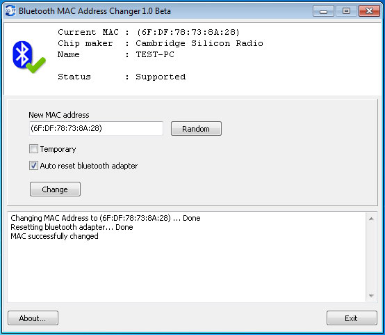 Click to view Bluetooth MAC Address Changer 1.8 screenshot